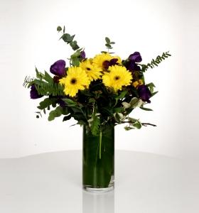 Camda Sarı Gerbera Mor Lissianthus